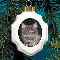 Gray Cat in Pearls Ornament