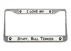 License Plate Frame: Staffordshire Bull Terrier