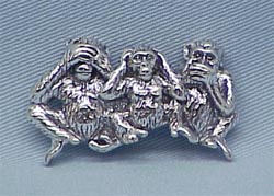Jewelry - Pin: Speak, See, Hear No Evil Monkey