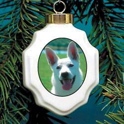 White German Shepherd Ornament