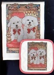 Bichon Frise Dish Towel & Potholder