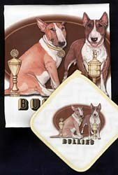 Bull Terrier Dish Towel & Potholder