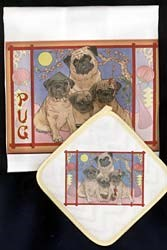 Pug Dish Towel & Potholder