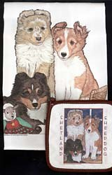Shetland Sheepdog Dish Towel & Potholder