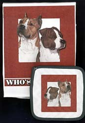 American Staffordshire Terrier Dish Towel & Potholder