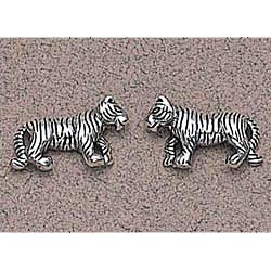 Tiger Earrings Sterling Silver
