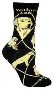Yellow Labrador Socks on Black