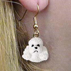 White Poodle Earrings