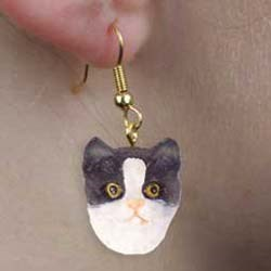 Black & White Cat Earrings