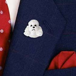 White Poodle Pin