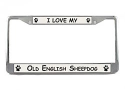 Old English Sheepdog License Plate Frame
