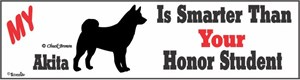 Akita Bumper Sticker Honor Student