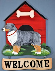 Australian Shepherd Welcome Sign Blue Merle