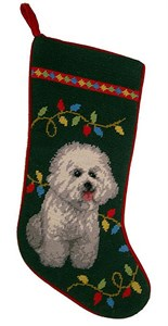 Bichon Frise Christmas Stocking Green Bkgrd