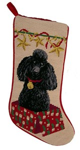 Black Poodle Christmas Stocking