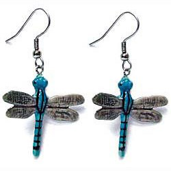 Blue Stripe Dragonfly Earrings