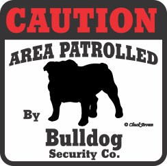 Bulldog Bumper Sticker Caution