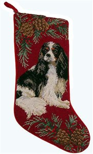 Cavalier King Charles Christmas Stocking Tri Color