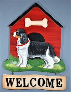 Cavalier King Charles Spaniel Welcome Sign Tri