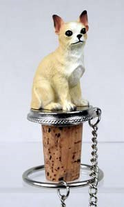 Chihuahua Bottle Stopper (Tan & White)