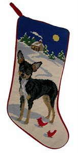 Chihuahua Christmas Stocking Black