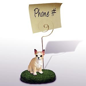 Chihuahua Note Holder (Tan & White)