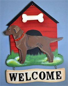 Chocolate Lab Welcome Sign