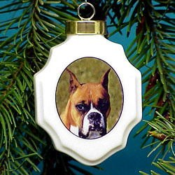 Boxer Ornament Porcelin