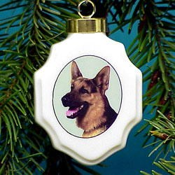 German Shepherd Ornament (Porcelin)