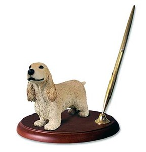English Cocker Spaniel Pen Holder (Blonde)