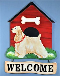 Cocker Spaniel Welcome Sign Buff
