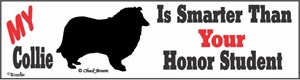 Collie Bumper Sticker Honor Student