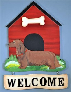 Dachshund Welcome Sign Long Red