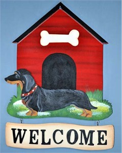 Dachshund Welcome Sign Smooth Black