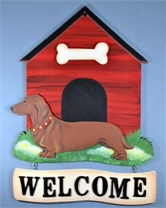 Dachshund Welcome Sign Smooth Red