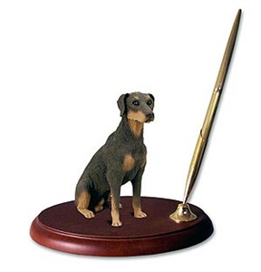 Doberman Pinscher Pen Holder (Red Uncropped)