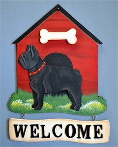 French Bulldog Welcome Sign Blk/Wht