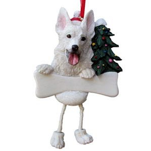 German Shepherd Ornament (White)