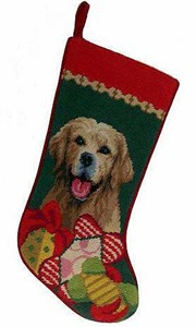 Golden Retriever Christmas Stocking Green Bkgrd
