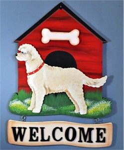Goldendoodle Welcome Sign Blonde