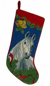 Gray Horse Christmas Stocking