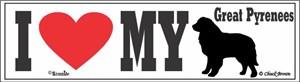 Great Pyrenees Bumper Sticker I Love My
