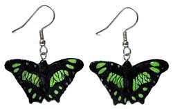 Green Malachite Butterfly Earrings