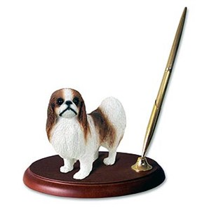 Japanese Chin Pen Holder (Brown & White)