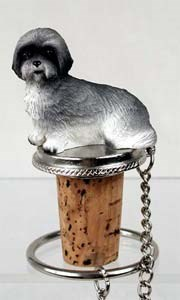 Lhasa Apso Bottle Stopper ( Gray Sport cut)