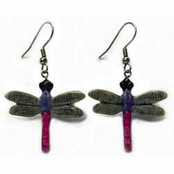 Pink and Purple Dragonfly Earrings