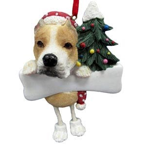 Pit Bull Ornament (Tan and White)