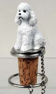 Poodle Bottle Stopper (White Sport cut)