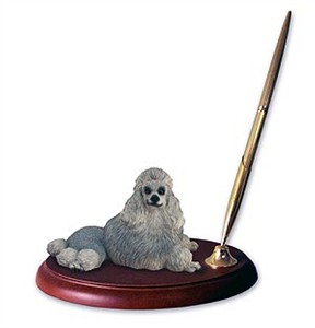 Poodle Pen Holder (Gray)
