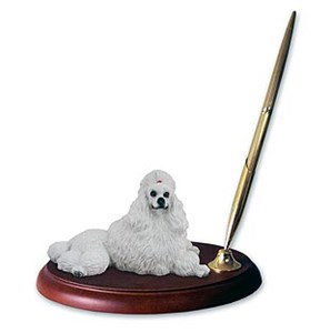 Poodle Pen Holder (White)